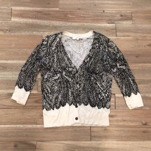 LOFT cream and black lace motif cardigan